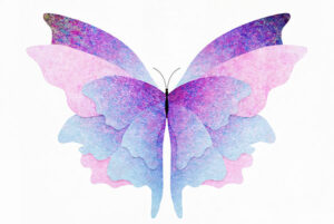 Life transitions, butterfly illustration, analogy of change, growth, evolution